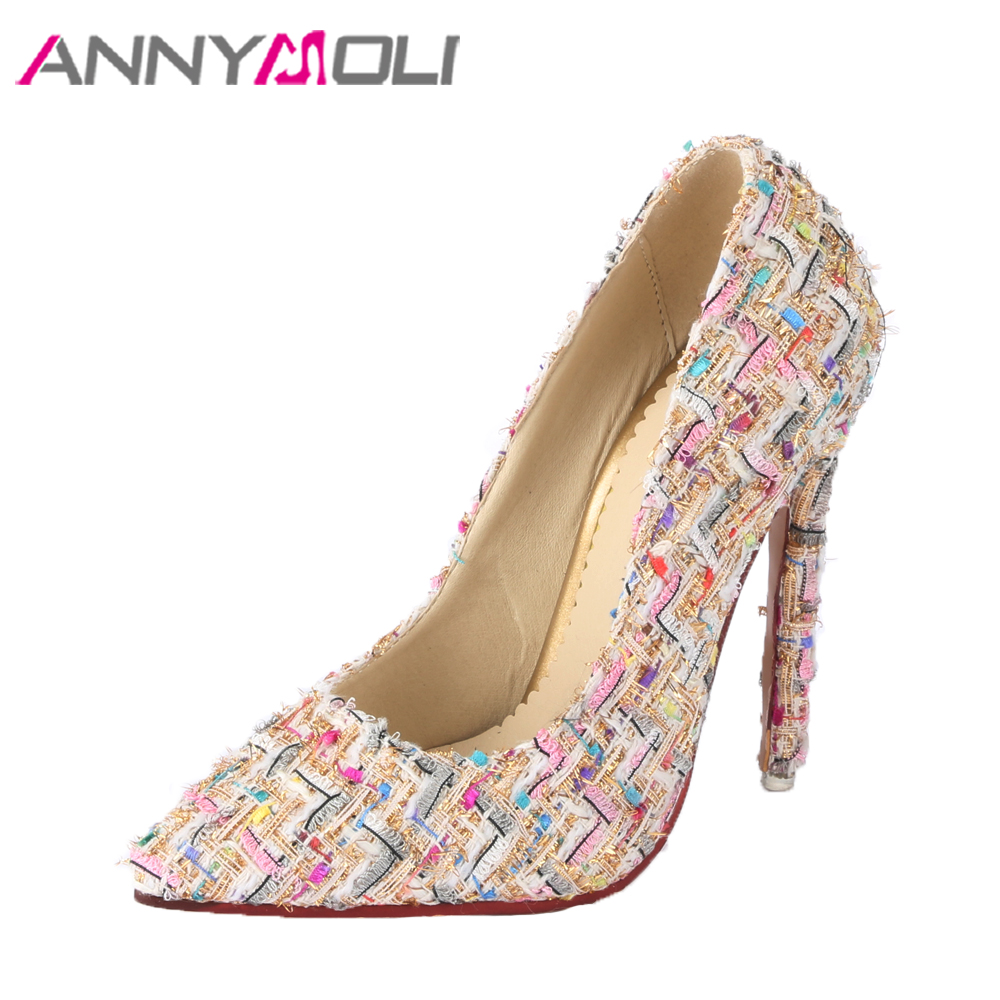 ANNYMOLI Women Pumps Extreme High Heel Party Shoes Shallow Thin Heel Pointed Toe Pumps Stiletto 2018 Shoes Spring Big Size 33-45 burgundy gray saphire blue pink women dress party career work shoes flock shallow mouth stiletto thin high heel pumps