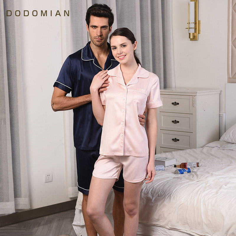 Summer Pajamas Sets for Couples Silk 1 Sets T-shirts+Shorts Men PJS Homewear Casual Pyjama Women Solid Short Sleeve Nightwear ...