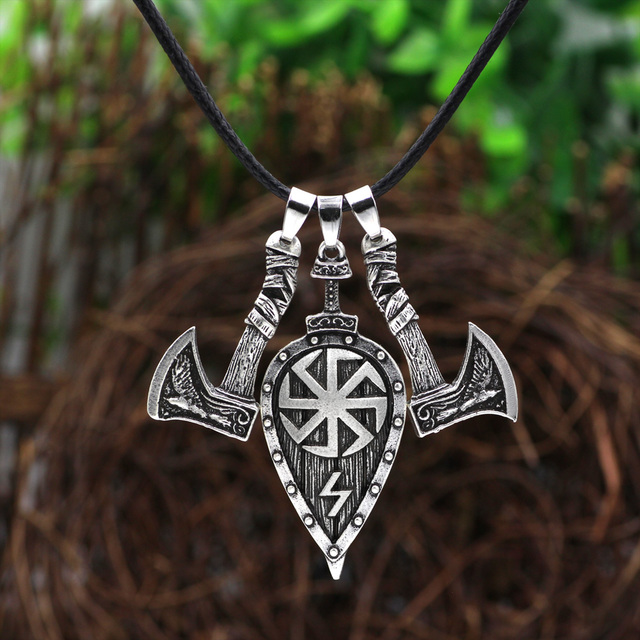 Viking Men Odin raven Slavic Amulet  Sword  Axe Shield Pendant Necklace Jewelry 2