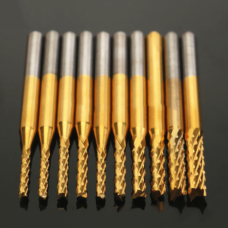 10pcs 1/8'' 1.5-3.175mm End Mill Corn Milling Cutter CNC Engraving Bits for Woodworking Router Bits Wood Cutter Milling engraving machine tools lace knife woodworking milling cutter tools for wood furniture metal aluminium stainless steel end mill