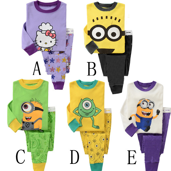 2018 Hot Sale Childrens Long Sleeve Cartoon Pajamas New Baby Boy Sleepwear Lovely Yellow Minion Home Clothing Sets Outfit 2pcs