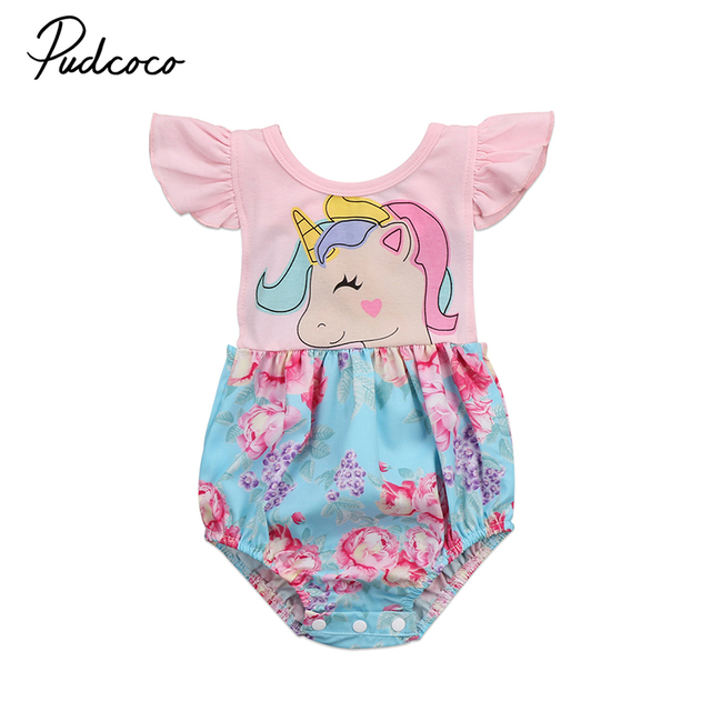 863f7c224 Newborn Toddler Baby Girl Unicorn Clothes Ruffles Floral Patchwork ...