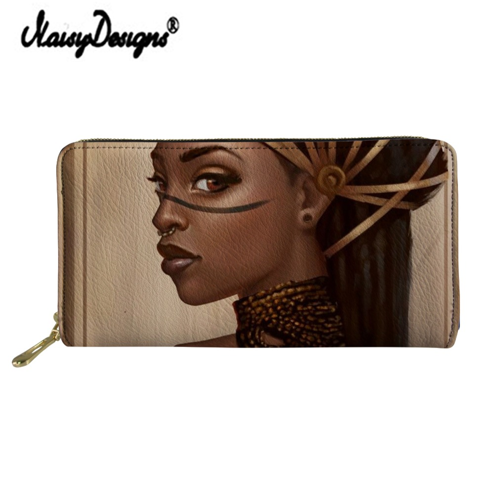Noisydesigns Art Afro Girl Print Women's Wallet Luxury Zipper PU Clutch Kawaii Portfel Portable Bag Ladies Money Coin Long Purse