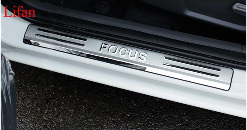 Prix pour Haute qualité 4 pcs Inoxydable Porte En Acier Sill plat D'usure Garniture pour Ford Focus 2005-2015 Livraison Gratuite