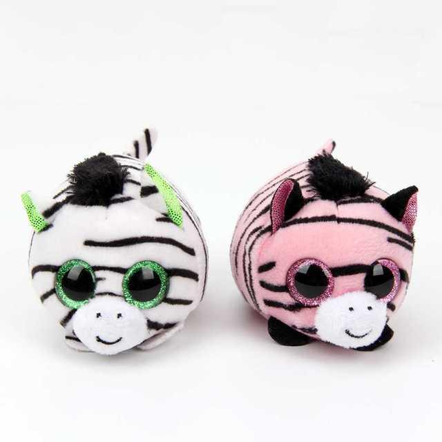 10cm Ty Beanie Boos Big Eyes Plush Toy Doll The Pink Zebra Baby Kids