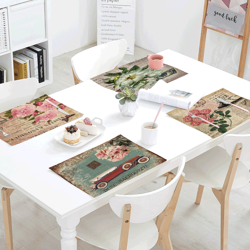 Retro Stamp Bird Flower Geometric Pattern Table Set Mat Butterfly Table Napkin Placemat Kitchen Decor Dining Accessories 42x32cm