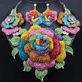 Свадебные Украшения Позолоченный Полный Стразы Преувеличены Большие цветы Ожерелье Серьги для Женщин Африканских Свадебные Ювелирные наборы