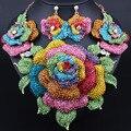 Joyería de La boda Chapado En Oro Exagerada Grandes flores Rhinestones Llenos Collar Pendientes para Las Mujeres Africanas sistemas de La Joyería Nupcial
