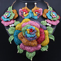 Wedding Jewelry Gold Plated Full Rhinestones Exaggerated Big flowers Necklace Earrings for Women African Bridal Jewelry sets