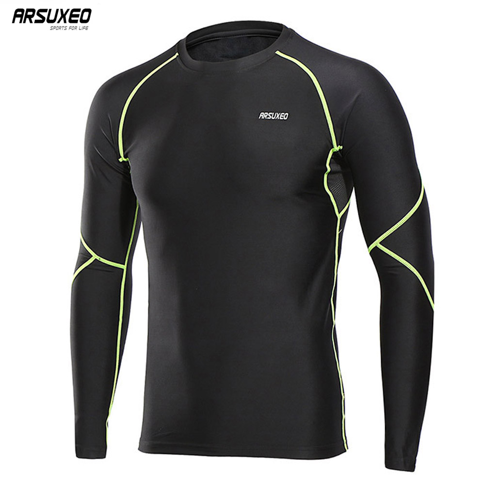 ARSUXEO 2018 Men's Winter Warm Up Fleece Compression Shirt Base Layer Running Long Sleeves Tights Workout GYM T Shirt U81S vintage printing long sleeves shirt