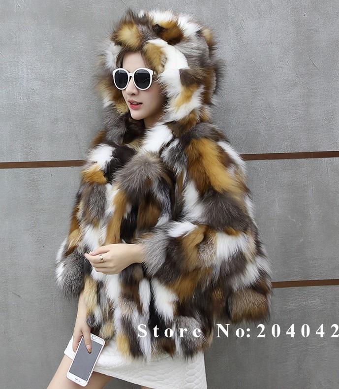 Donna Short Fox Coats Winter Elegante Fur Vera Naturale 1q7w1xOX8