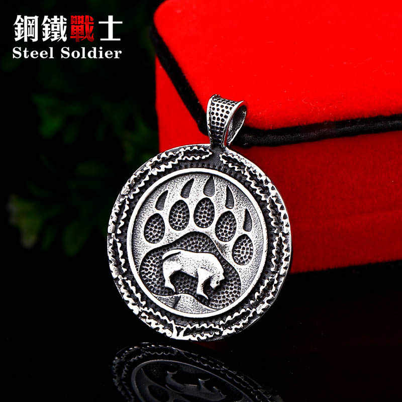 Steel soldier Scandinavian Viking retro bear animal Amulet charm pendant  Spiritual 316l stainless steel men chains jewelry