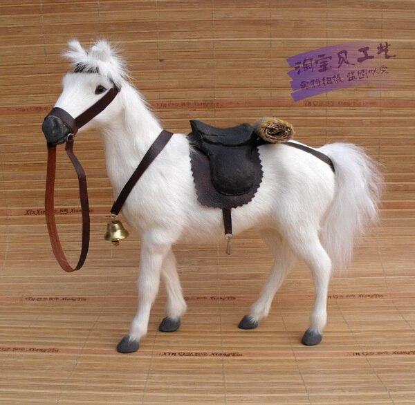 Simulation cheval de guerre jouet polyéthylène & fourrures cheval de sang blanc avec selle cadeau environ 28x10x26 cm 0826