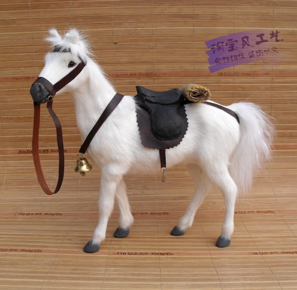 simulation war horse toy polyethylene&furs white blood horse with saddle gift about 28x10x26cm 0826 creative simulation black horse toy polyethylene