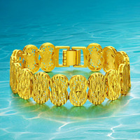 Plated 24K Gold Vintage Bangle Jewelry Yellow Real Gold Plated Trendy Charm Bracelets Bangles New Gift