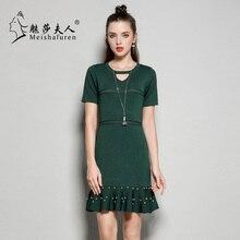 Donna весна осень Для женщин высокого класса Бисер вязаное платье Сексуальное мини-платье Женский О-образным вырезом Повседневное тонкий Платья для женщин l1009s