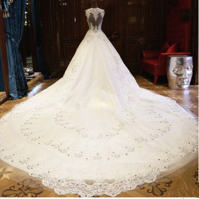 Real photos luxurious long train mermaid crystals beads for Tailor made wedding dress