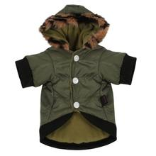 d7921700a140 Водонепроницаемый Армейский зеленый животных большие одежду собака Зимний  теплый пуховик ветровка щенок пальто(China)