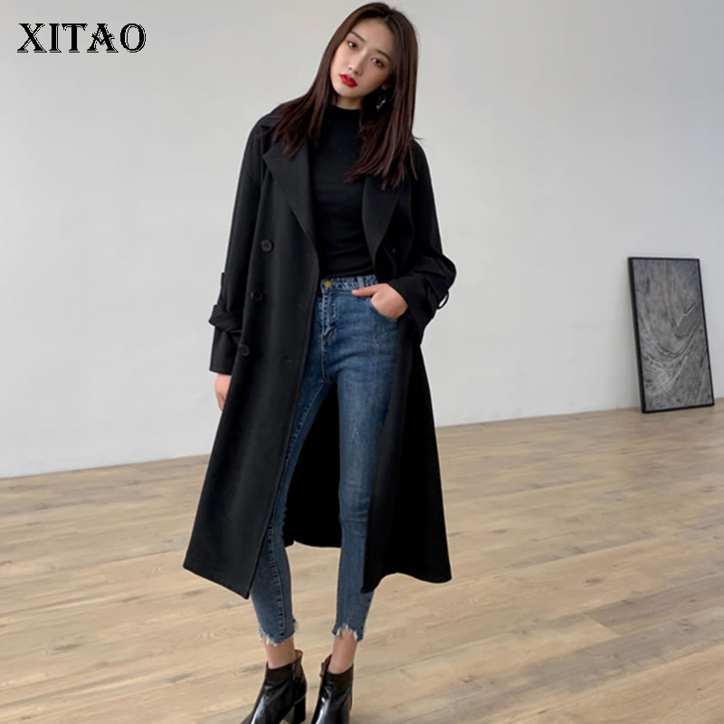 Manteau 2019 Black Nouveau Solide Manches Pleine Casual Doubel xitao  Bandage Printemps Corée Mode Dll1800 down Turn Couleur Breasted ... a52ae7c167b5