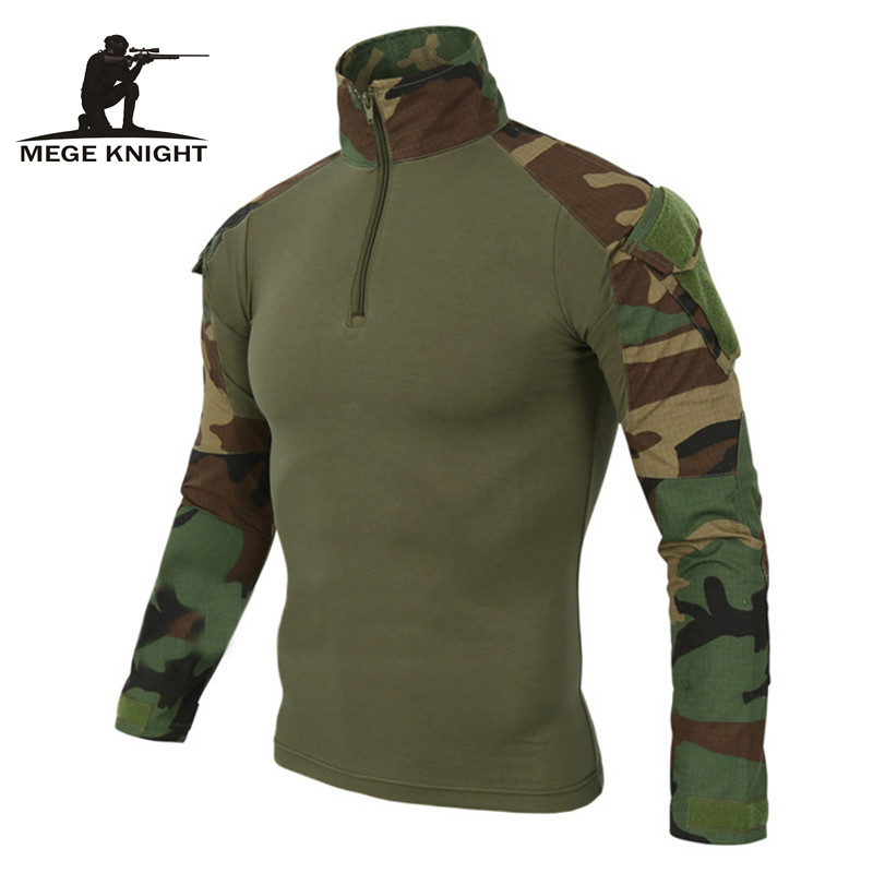 MEGE 12 Camouflage Colors US Army Combat Uniform Military Shirt Cargo Multicam Airsoft Paintball Tactical Cloth With Elbow Pads