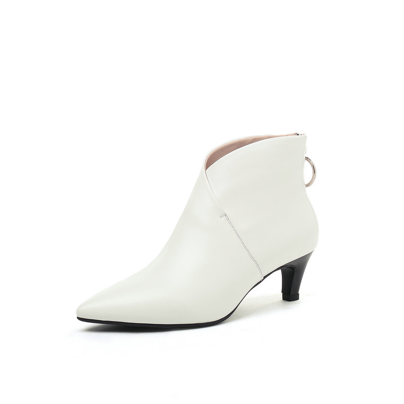 Genuino Corto Plush De Tobillo Alto blanco Las Mujeres Negro Cuero Zapatos Salu Nuevo Negro Otoño Invierno Botas Moda Tacón qwxPEA7