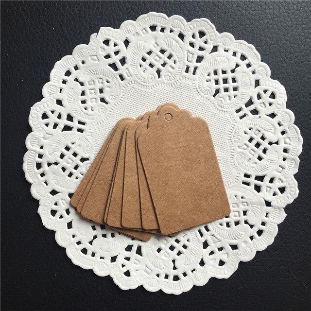 Us 2 15 40 Off 100 Stks Papier Gift Tags Woord Bericht Kaart Bruin Schulp Festival Bruiloft Decoratie Tag Blank Bagage Voedsel Verpakking Label 5 3