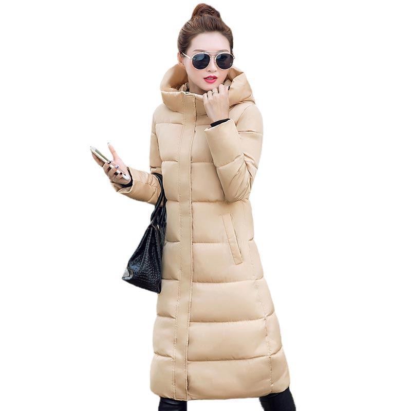 Winter X-Long Padded Jacket Women 20176 New Hooded Slim Cotton Coat Thick Warm Jacket  Female Overcoat Plus Size PW0478 2017 new autumn winter cotton coats women vintage print long hooded thickening cotton padded jacket warm overcoat plus size z162