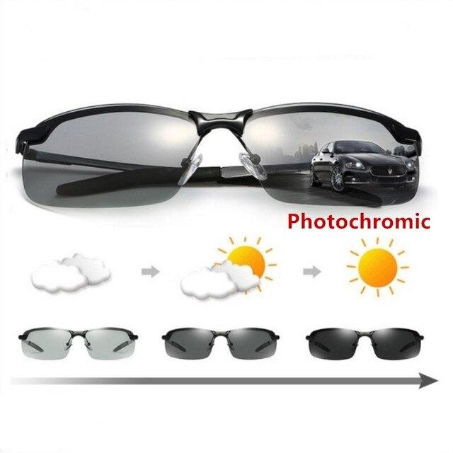 bb1deeb266 2018 Driving Photochromic Sunglasses Men HD Polarized Chameleon  Discoloration Sun Glasses Top Quality Oculos de sol Masculino