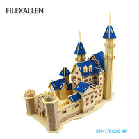 Church Castle Building Model Jigsaw 3D Wooden Puzzle DIY Educational Model Toys Puzzle for Adult Children