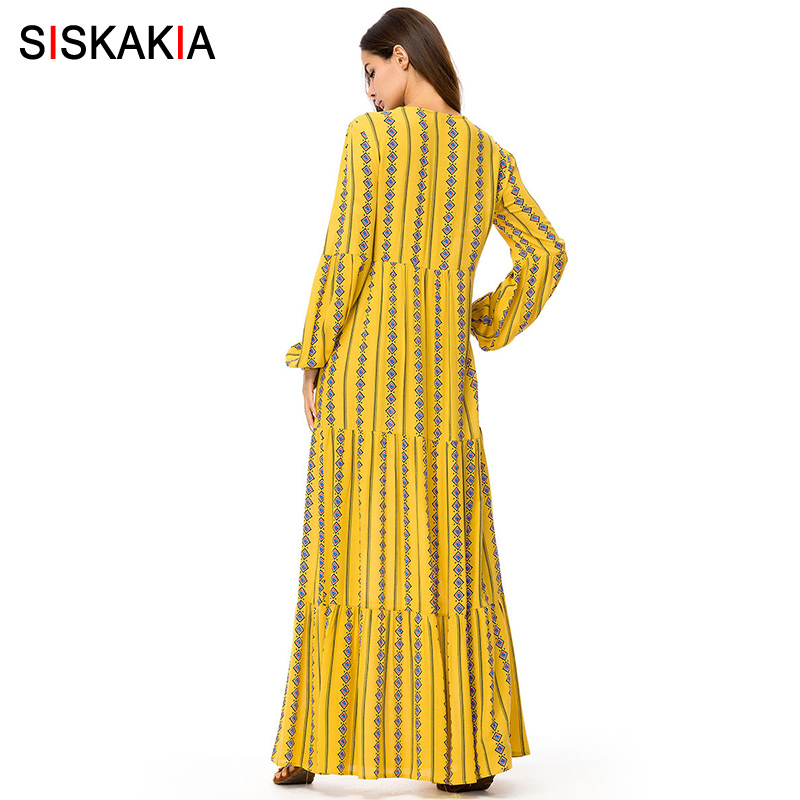 6d2c183d3e532 Siskakia Fashion Muslim Print long dress Autumn Fall 2018 Tall women Maxi  dresses long sleeve swing dress Arab Qatar UAE Jubah