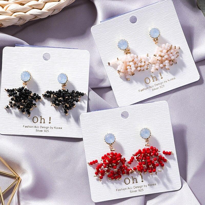 Buy Cheap Handmade Irregular Colorful Crystal Beads Tassel Firework Shaped Short Dangle Earrings For Women Red Black Beige Beaded Earring