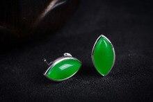 mujer moda pendientes oorbellen earrings Green Jade Gems New Pair Natural 925 Sterling Silver Earrings 6.09