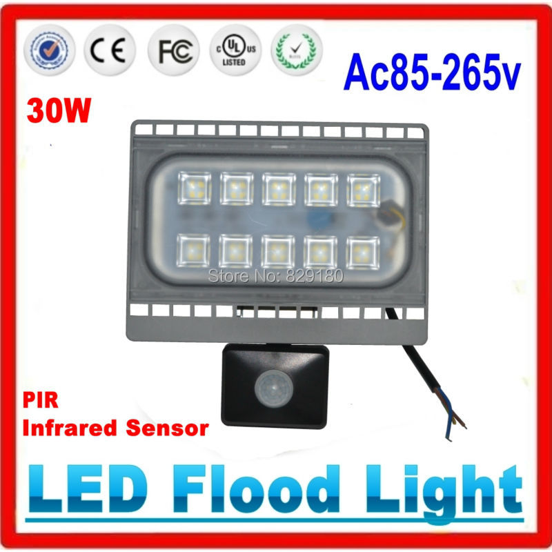30W LED Flood Light PIR Motion Sensor Flood Lights Waterproof IP65 Floodlight Spotlight Outdoor Garden Wall Light