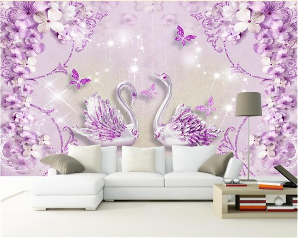 US $8 85 OFF Beibehang Interior Senior 3d Wallpaper Noble Gorgeous Purple European Style Three Dimensional Swan TV Background Papel De