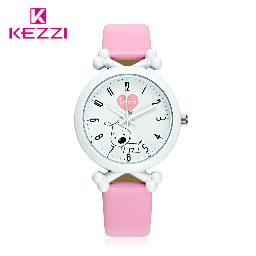 Kezzi Kids Watches Cartoon Leather Dog Quartz Watches Waterproof Children Clock Boys Girls Students Wristwatch montre enfant