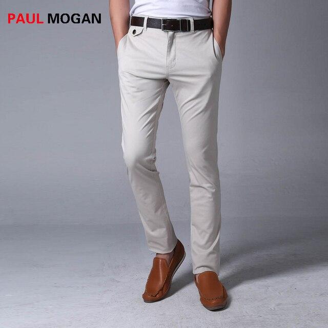 03a7ad8428 Paul Mogan pantalones casuales de algodón de Alta calidad marca moda hombres  pantalon homme gris para