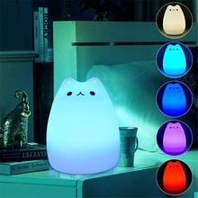 Colorful Cat LED Night Light Silicone Rechargeable Touch Sensor Light 2 Modes Children Cute Bedroom Night Lamp