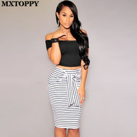 Fashion Womens Sexy Stripping High Waist Stripe Lacing Zipper Skirt Plus Size White And Black Sexy