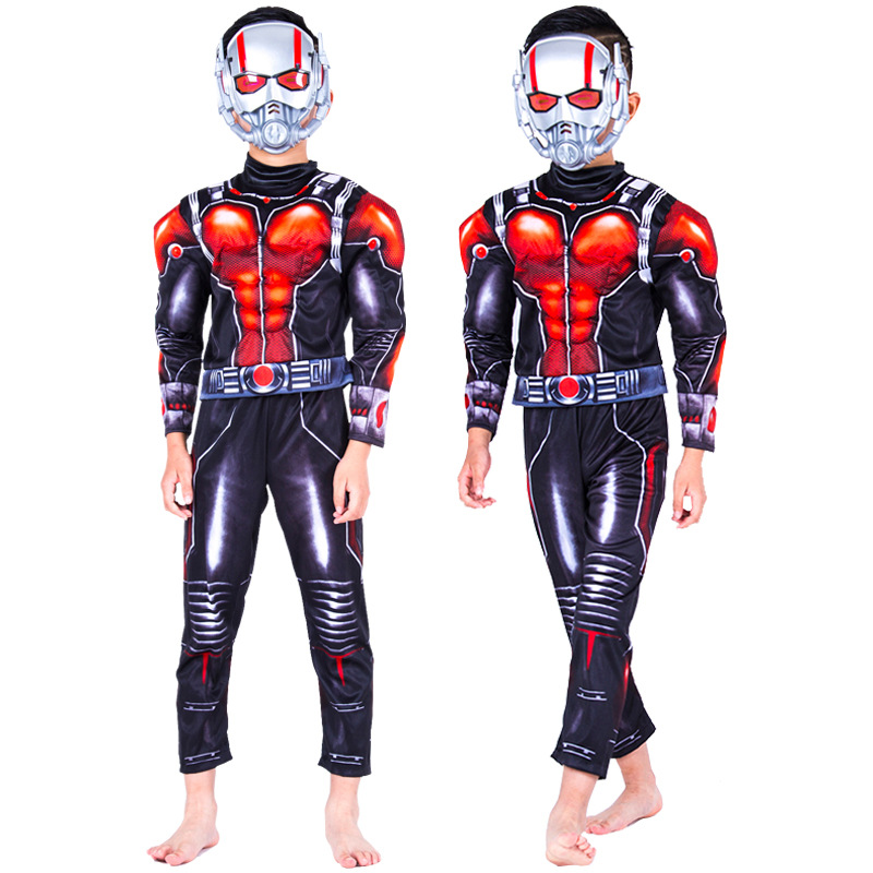 Superhero Ant-Man Muscle Costume for Boy Child Halloween Party Ant-Man Jumpsuits with Mask Cosplay Costume for Kid
