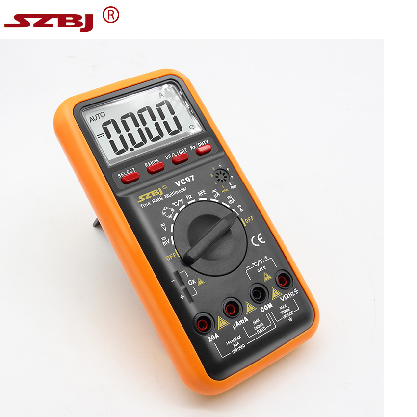 SZBJ VC97 3 3/4 Digital Multimeter Professional True RMS Auto Range voltage Resistance Capacitance Frequency Temperature Tester цена