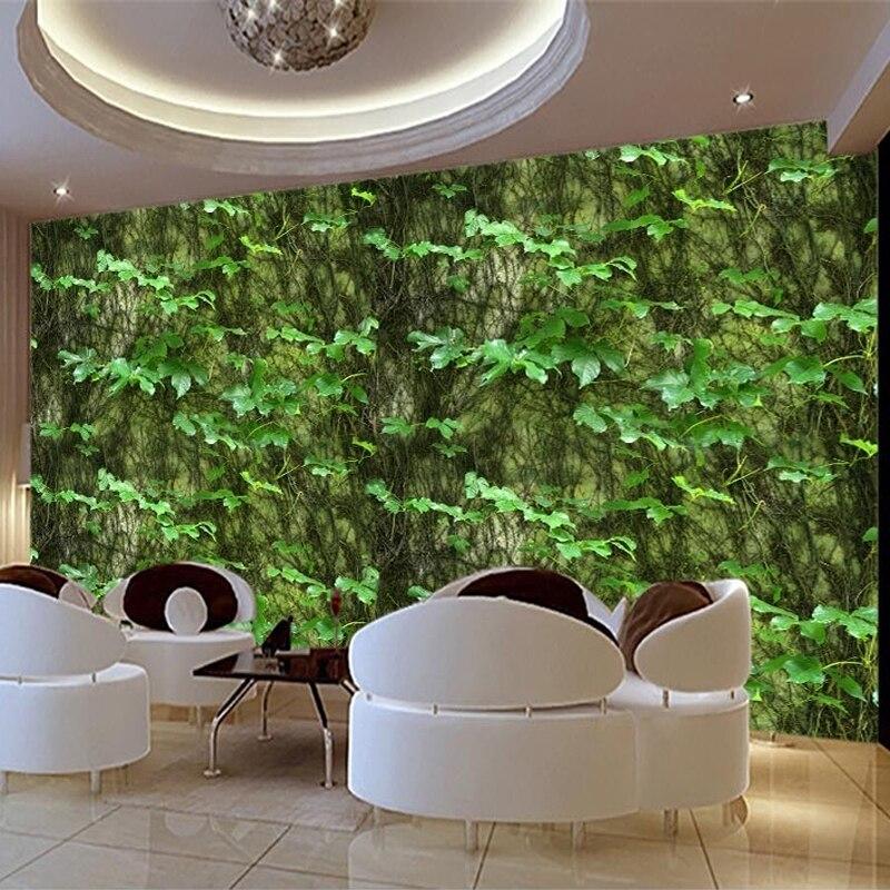 Custom 3D Photo Wallpaper Green Leaf Climbing Tiger Vine Abstract Art Wall Painting Background Decor Mural Wallpaper Wall Decals