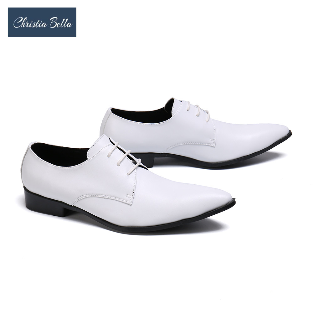 Christia Bella Gentleman Genuine Leather Men Oxford Shoes Man White Wedding Dress Shoes Business Office Pointed Toe Brogue ShoesChristia Bella Gentleman Genuine Leather Men Oxford Shoes Man White Wedding Dress Shoes Business Office Pointed Toe Brogue Shoes