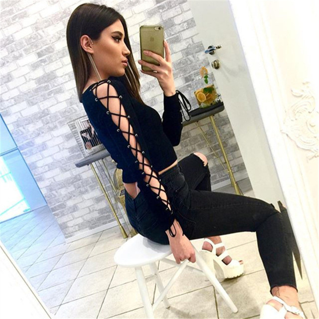 66f0e01ab3f4 2016 New Fashion Autumn T Shirt Women Black Long Lace Up Sleeve Crop Top  Sexy Off