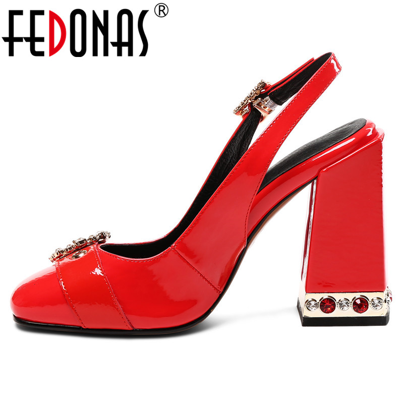 FEDONAS Summer Genuine Leather Patent Leather Women Pumps Vintage Round Toe Square Heels Sandals Buckle Slingbacks