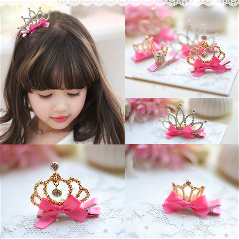New Arrival Baby Girls Children Shiny Crown Rhinestone Hairpins Princess Ribbon Bow Crystal Hair Clip Pearl Barrette Accessories