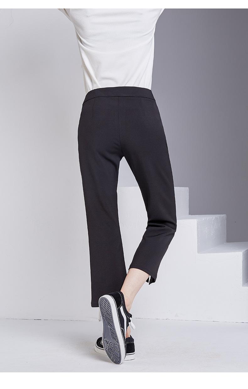 bootyjeans spring 2018 new European high-end women's slim black all-match split ankle length pants casual bottom pants 35