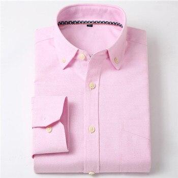 7eea2a897 Los hombres equipada Botón-Collar sólido y no de hierro-vestido de camisa  sin bolsillo inteligente Casual de manga larga Regular Oxford camisas de  algodón ...