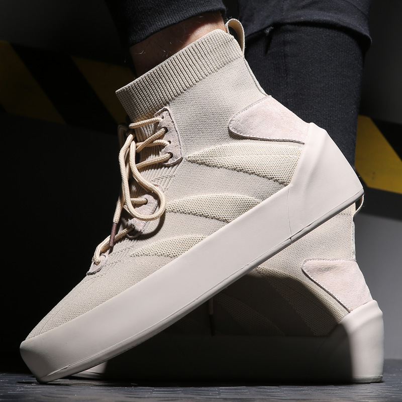 High Top Sneakers Men Knit Upper Breathable Shoes Fashion sock stretch Black / White Shoes Casual tenis masculino