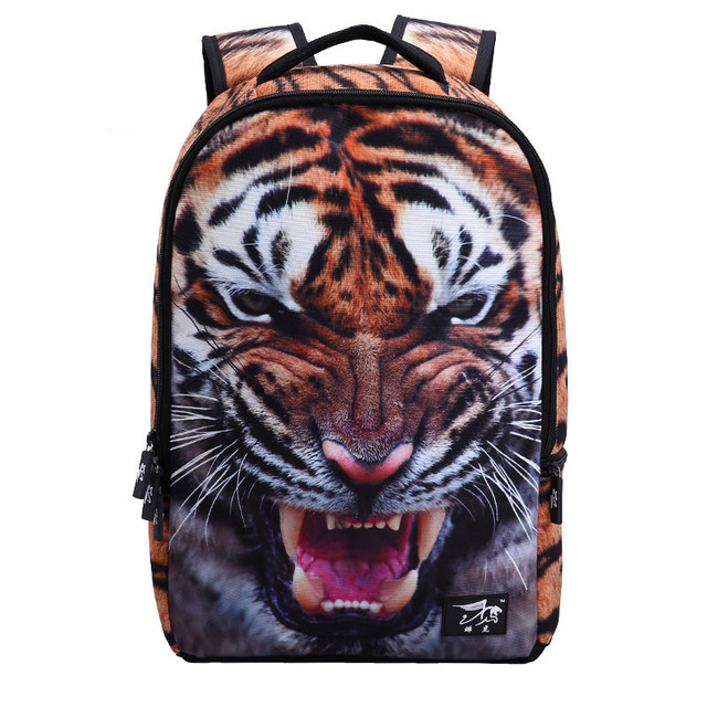 Niños de la escuela bolsas mochila cabeza tigher 3d dolphin kids animal bolsa de camuflaje azul hombres mochila para niño leopardo león de viaje bolsas