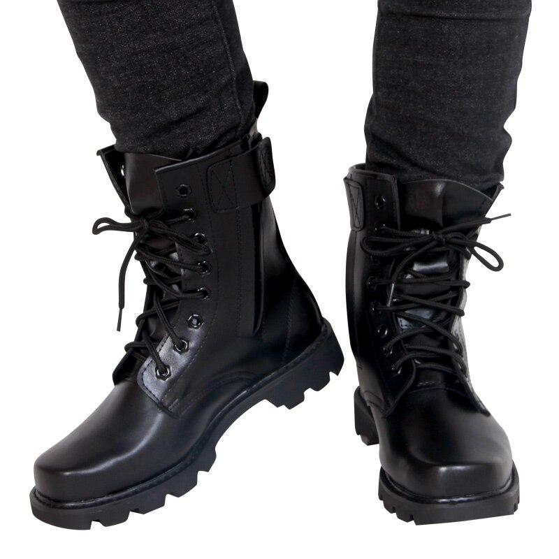 Army moda in pelle nera Uomini Stivali Militari Stivali Tattici Stivali di Combattimento Stivali Impermeabile Estate/Inverno Desert Boots Formato 35- 46